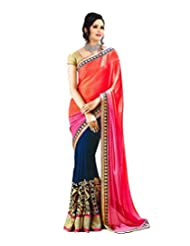 Temptingg Fashions Shaded Pink & Blue Chiffon With Heavy Embroidery & Lace Border Work Saree