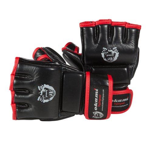 OKAMI Fightgear Uni MMA Handschuh Hi Pro Training, schwarz rot, S, 12-0000
