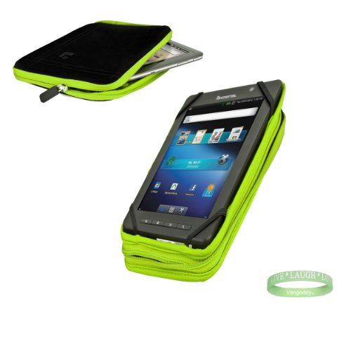 Black And Lime Green Sleeve, Bubble Like Interior Lining To Prevent Scratches For Your 8Inch Tablet + Electric Geen Vangoddy Bracelet!!!