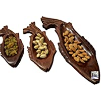 National Handicrafts 3 Fish Dry Fruit Leaf Tray Home Decor Kitchen Dinning Table Serving Fruits Gift Office