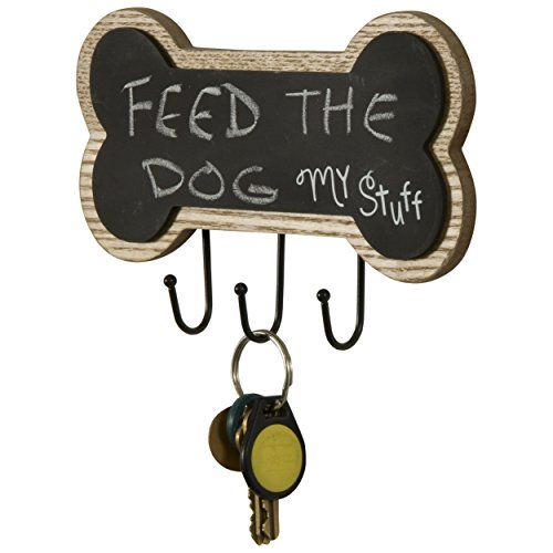 Dog Bone Wooden Chalkboard with Hooks (Natural)