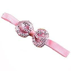 Bellazaara BELLAZAARA Boutique Sassy Glitter Sequin Bow Headband Newborn Girl Head Band (Pink)