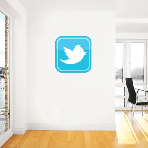 Twitter Bird Logo Large Square Sticker Poster Wall Decal 22″ X 22″