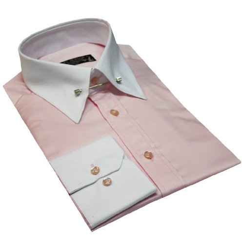 New Italian Design Pin Collar Men's Formal Shirt Pink Colou With Contrast Collar