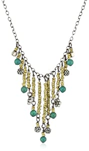 "Wasabi by Jill Pearson ""Aquatic"" Turquoise and Brass Fringe Necklace"