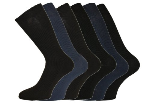Mens Cotton Loose Wide Top Socks Size 6-11 Darks 6 Pack