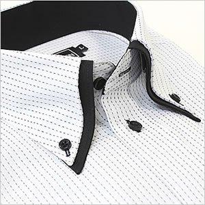 ボットーニ風 襟高デザイン ボタンダウンシャツ