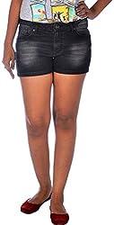 Klorophyl Women's Denim Lycra Shorts (KS051501_30, Black, 30)