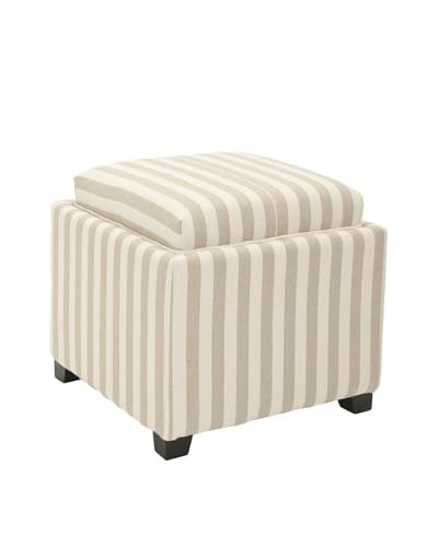Safavieh Harrison Single Tray Ottoman, Cream/Tan Stripe