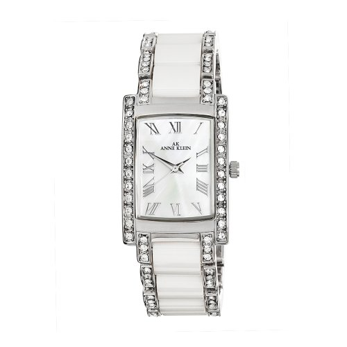 AK Anne Klein Women's 109195MPWT Swarovski Crystal Accented Silver-Tone White Ceramic Watch