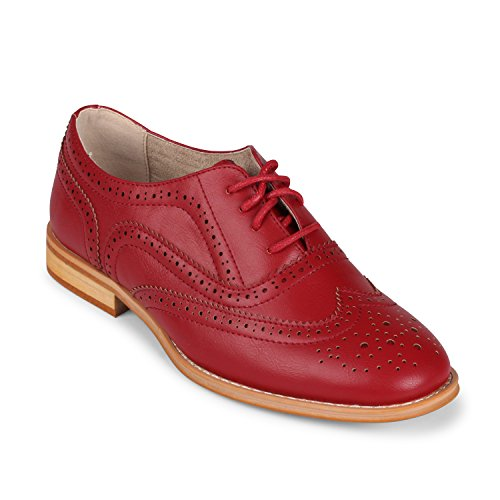 Wanted Shoes Women's Babe Oxford, Red, 7 M US
