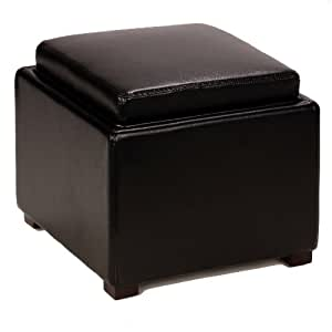 Cortesi Home Bonded Leather Mavi Storage Tray Top Ottoman, Black