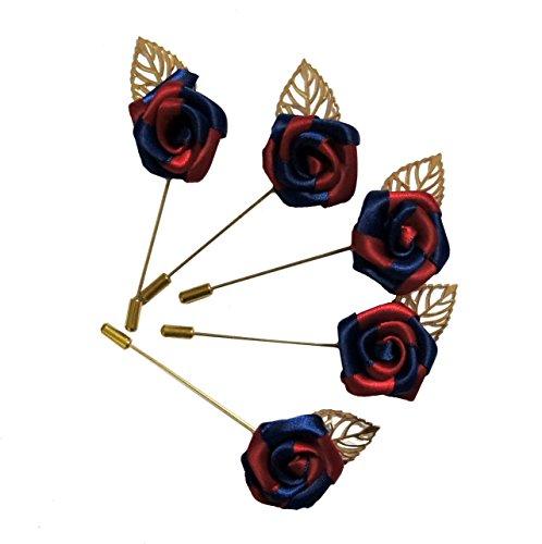 RB RP04 unisex Borgogna e Dark Blue Rose con Gold Leaf Spilla, Sciarpa, cappello, Colletto, cappotto Stick Pin Spilla - Confezione da 5