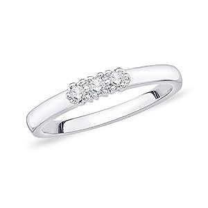 3 Diamond Wedding Band in 10K White Gold (1/10 cttw) (Size-10)
