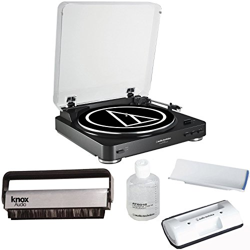 Audio-Technica-AT-LP60BK-Turntable-Black-w-Knox-Carbon-Fiber-Vinyl-Brush-AT6012-Cleaning-Kit