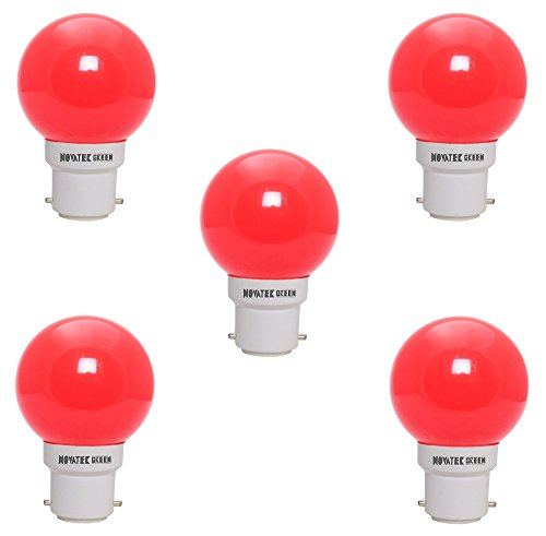 0.5W LED Bulb (Red, Pack of 5)