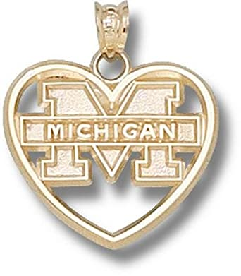 Michigan Wolverines M Michigan Heart Pendant - 14KT Gold Jewelry by Logo Art