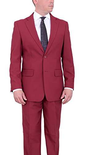 Vittorio-St-Angelo-Classic-Fit-Solid-Burgundy-Two-Button-Pleated-Pants-Suit