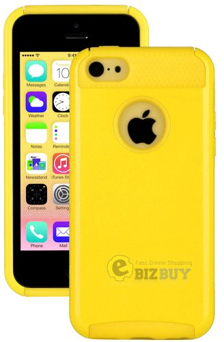 myLife (TM) Bright Sun Yellow Style 2 Layer (Hybrid Flex Gel) Grip Case for New Apple iPhone 5C Touch Phone (External Single Piece Full Body Defender Armor Rubberized Shell   Internal Gel Fit Silicone Flex Protector   Lifetime Waranty   Sealed Inside myLi Picture
