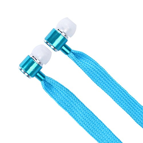 Dreaman Universal 3.5mm Shoelace Stereo Handfree Headphone Earphone Headset With Mic SkyBlue (Panasonic Replacement Ear Buds compare prices)