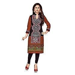 Stylish Girls Women Cotton Printed Unstitched Kurti Fabric (SG_K1002_Brown_Free Size)