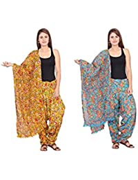 Rama Set Of 2 Floral Print Yellow & Orange Colour Cotton Full Patiala With Dupatta Set
