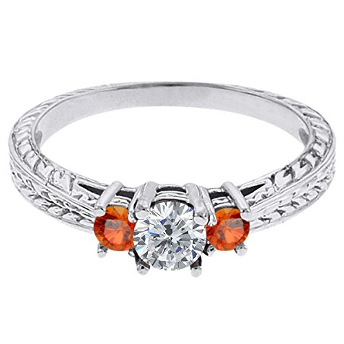 0.56 Ct Round G/H Diamond Orange Sapphire 14K White Gold 3-Stone Ring
