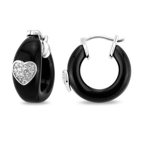 14k White Gold .0002ct TGW Black Onyx Diamond Hoop Earrings (0.1Cttw, G-H Color, I1-I2 Clarity)