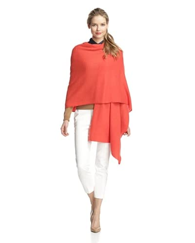Qi Cashmere Women's Lora Basic Cashmere Wrap, Tomato Red