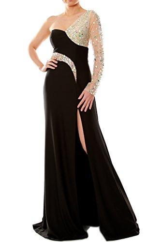 a744501e8e9 MACloth Women One Shoulder Long Sleeve Mermaid Evening Gown Wedding Party  Dress (20w