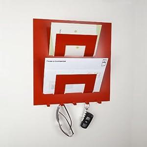 schl sselhalter mit briefablage wandmontage rot k che haushalt. Black Bedroom Furniture Sets. Home Design Ideas
