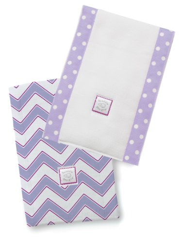 SwaddleDesigns Baby Burpies, Lavender Chevron (Set of 2 Burp Cloths)