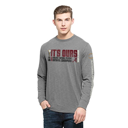 NCAA Alabama Crimson Tide Men's 2015 National Champions Two-Peat Long-Sleeve '47 Scrum Tee, XX-Large, Wolf Grey
