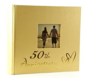 golden 50th wedding anniversary photo album new in gift box kitchen home. Black Bedroom Furniture Sets. Home Design Ideas