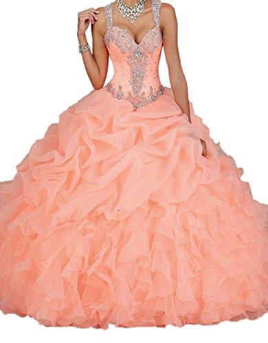 Engerla-Mujer-Correas-cuentas-Pearl-Sheer-diseo-cascada-de-novia-quinceaera-de-organza-vestido