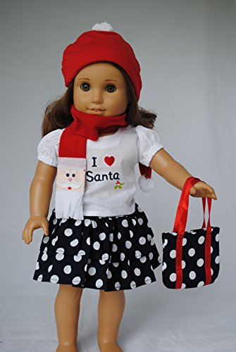 Five Piece Santa Ruffled Skirt Outfit for 18 Inch Dolls Including the American Girl Line