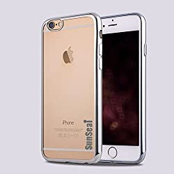 Iphone 6S Plus Case, Sunseai Ultra Thin Clear Crystal Plating Electroplating TPU Soft Mobile Phone Case For iPhone 6 6s Plus 5.5 inch (Silver)