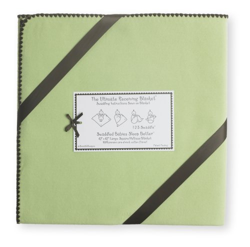 SwaddleDesigns Ultimate Receiving Blanket, Pastel with Chocolate Brown Trim, Lime