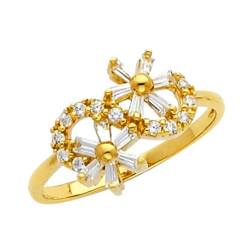 14K Yellow Gold High Poliosh Finish Flower Round-cut Top Quality Shines CZ Cubic Zirconia Ladies Promise Ring Band - Size 5.5