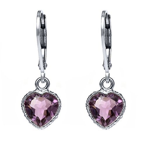 10x8mm Sterling Silver Purple Amethyst Heart Shape Dangle Earrings