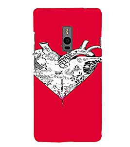 PrintVisa Heart Tattoo Art Design 3D Hard Polycarbonate Designer Back Case Cover for One Plus Two