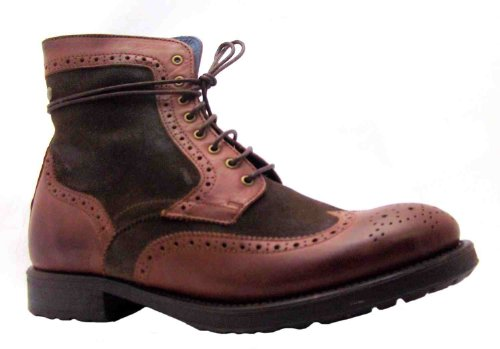 Men's Columbus Ex-display Base Brown Wingtip Leather Brogue Style Boots