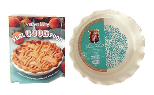 Flowered Deep Dish Pie Dish (Bundle - 2 Items) 1 Blue and White Ceramic Pie Dish, 1 Delicious Southern Cook Book