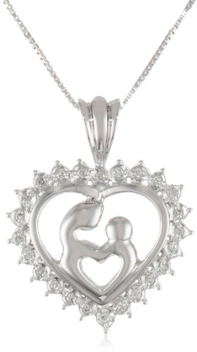 Sterling Silver Diamond Double Heart Mother and