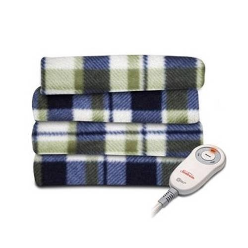 Sunbeam Heated Throw Blanket Fleece Imperial Plush Electric Assorted Colors (Plaid Allister Cream With Green Blue, Extra Soft/3 Heat Settings/Fleece Throw)