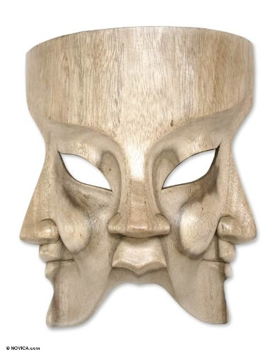 NOVICA Decorative Religious Hibiscus Wood Mask, Beige 'Hindu Divine Trinity'