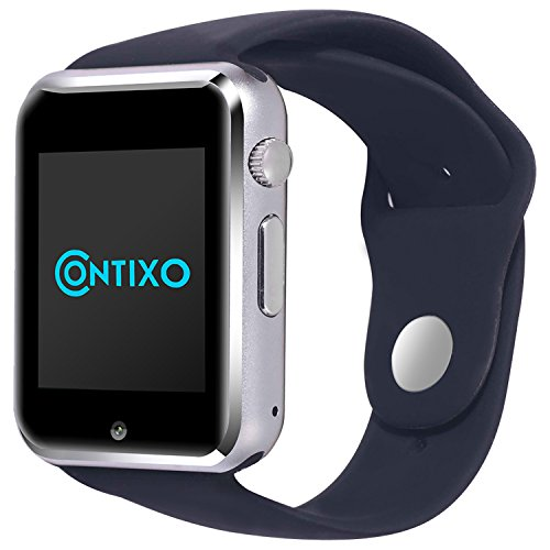 Contixo Smart Watch Phone /Bluetooth/Easy Connection/Make Calls/Support SIM/TF for Apple iPhone 5s/6/6s and Android 4.2 or Above SmartPhones (Black)