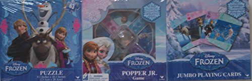 Bundle- 3 Items: Frozen Jumbo Playing Cards, Popper Jr. Game, 63 Piece Puzzle (Popper Jr Game compare prices)