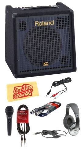 Roland KC-350 4-Channel 120-Watt Stereo Mixing Keyboard Amplifier Bundle with Microphone, 20-Foot XLR Cable, 20-Foot Instrument Cable, 1/8-Inch-to-RCA Cable, Headphones, and Polishing Cloth