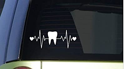 "Tooth heartbeat lifeline *I257* 8"" wide Sticker decal dentist hygienist"